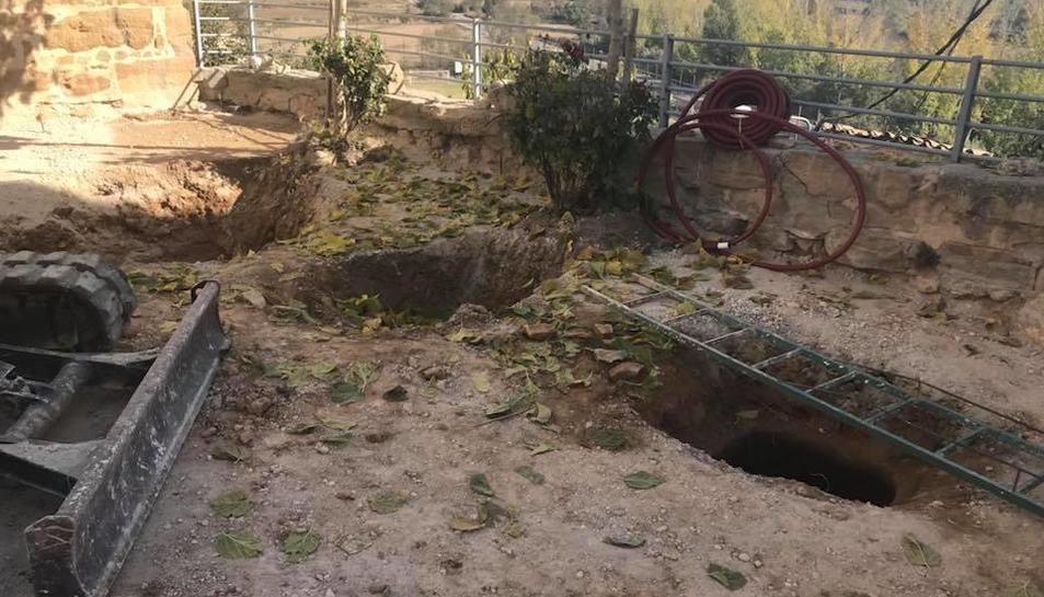 Los antiguos silos descubiertos en Butsènit por las obras de urbanización de parte del centro.