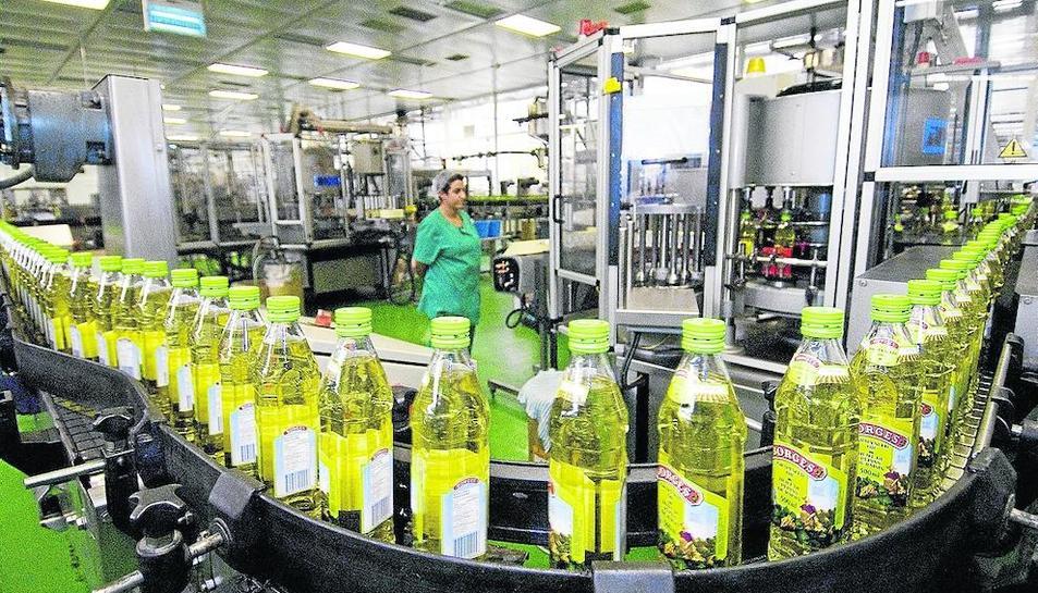 Cadena d'envasament de l'oli d'oliva en una planta del Grup Borges.