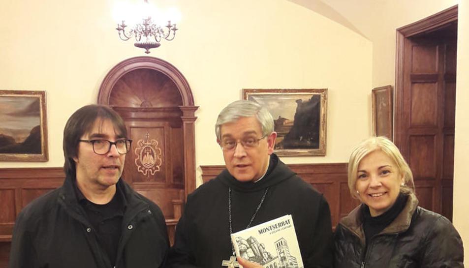 Fèlix Montagut i la seua esposa, amb l'abat de Montserrat.