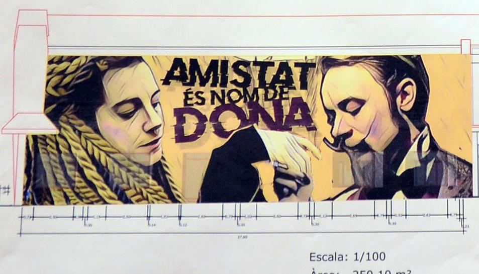 Concurso mural  -  La obra Amistat és nom de dona del artista local Sergi Gaya  ha ganado el concurso de pintura mural convocado por el consistorio con el objetivo de decorar la pared lateral exterior de L'Amistat que conecta con la calle Ciutat ...