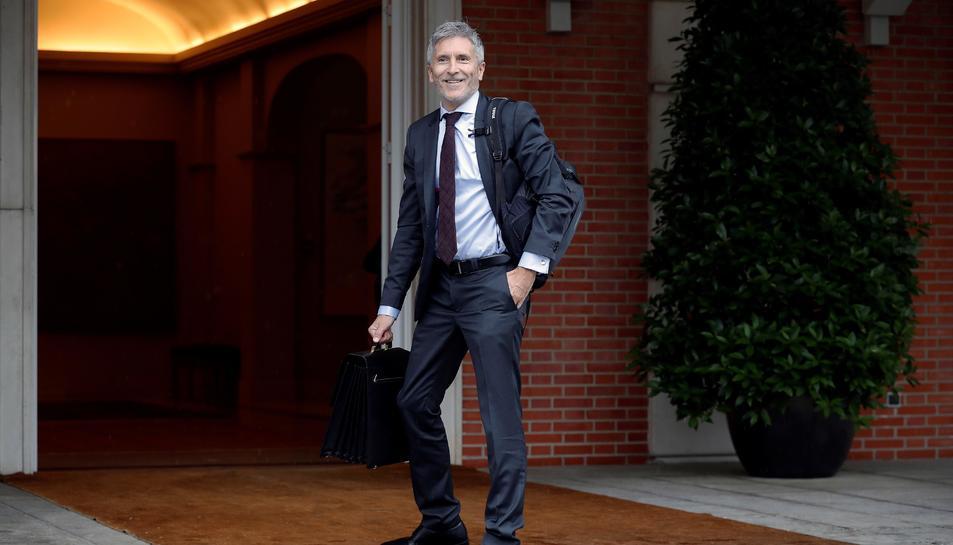 El ministre de l'Interior, Fernando Grande-Marlaska, a la seua arribada al Palau de la Moncloa.