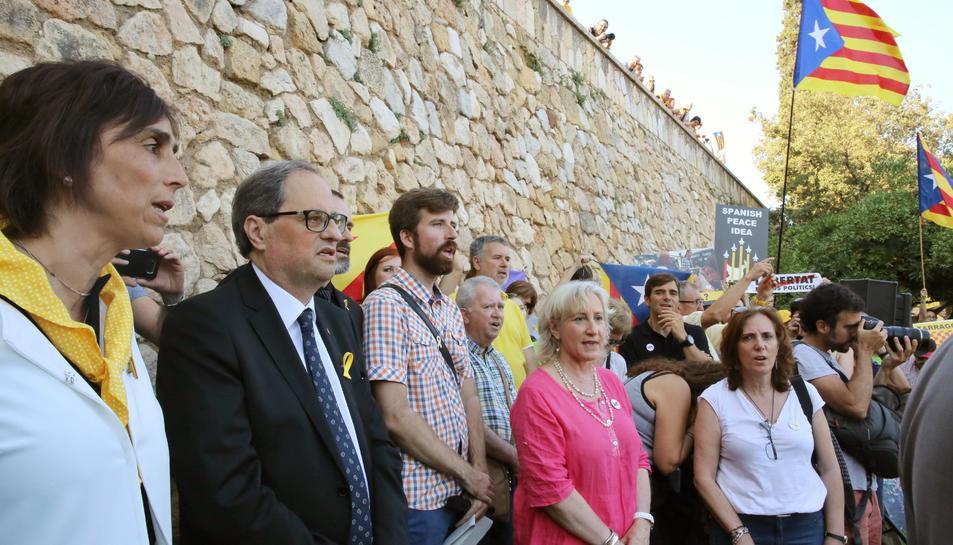 El president de la Generalitat, Quim Torra, ha participat en un acte de rebuig a la visita del rei Felip a Tarragona.