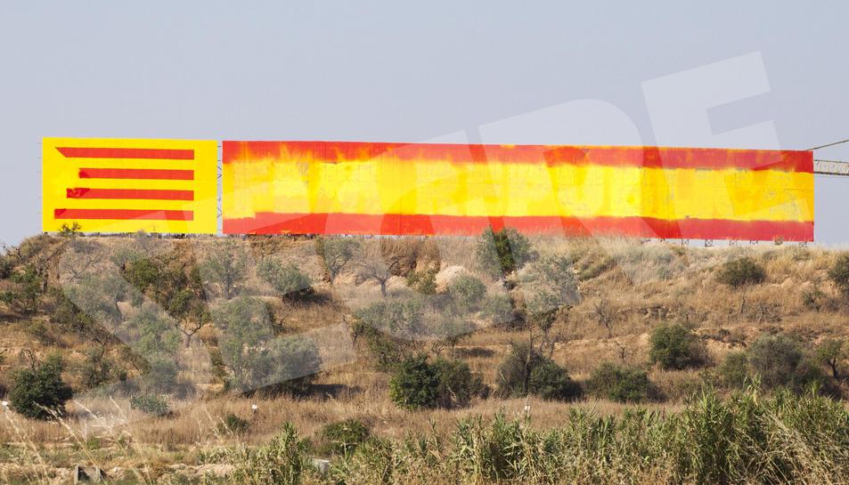 Repinten el mural independentista de l'entrada de Bellpuig amb l'espanyola
