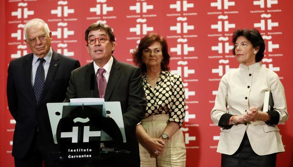 El poeta i catedràtic Luis García Montero, ahir a la presa de possessió com a director del Cervantes.