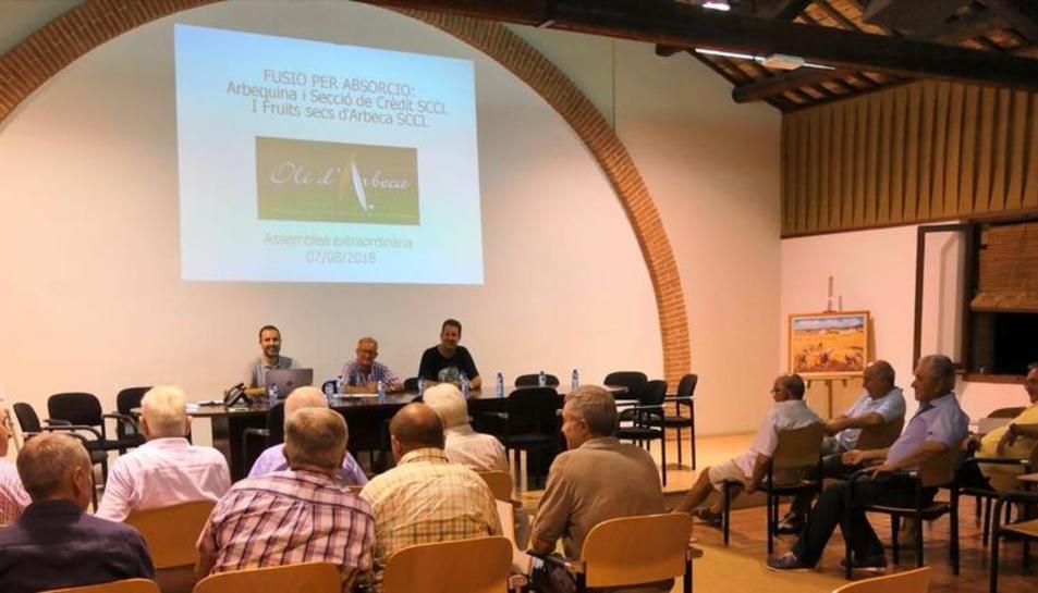 Imatge d'una de les assemblees celebrades ahir que van aprovar la fusió de les cooperatives.