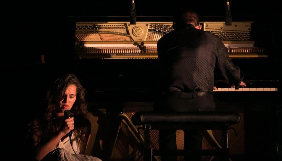 La cantant i el pianista, durant el seu concert al Festival Castell de Peralada.