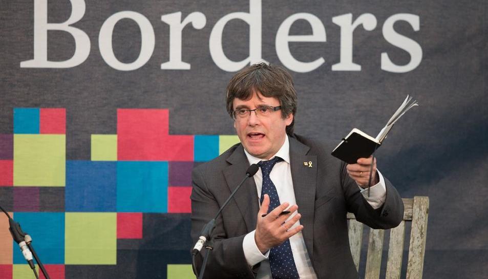 Puigdemont, ahir en un fòrum sobre el futur de Catalunya i Europa al sud d'Escòcia.