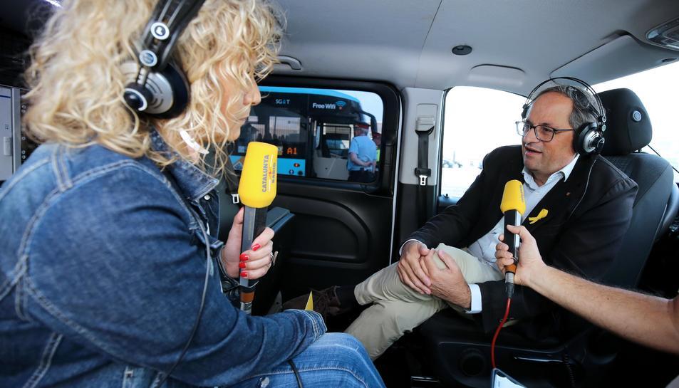 Un moment de l'entrevista amb Catalunya Ràdio