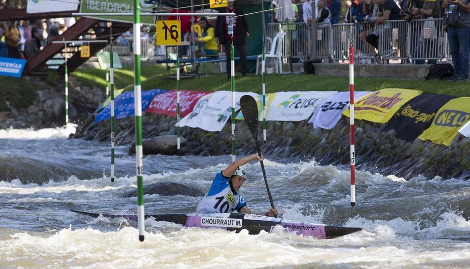 Maialen Chourraut, durante su participación de ayer en el Parc del Segre, que le valió una medalla de plata.