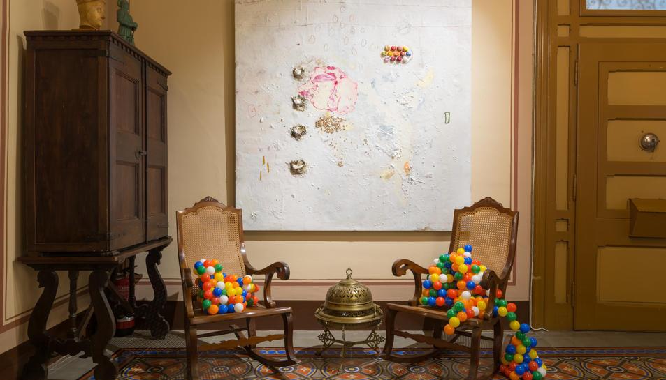 Una de les intervencions de Massana a la Casa Museu Duran i Sanpere de Cervera.