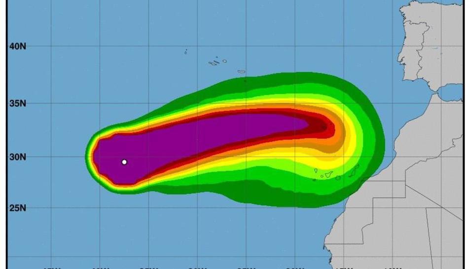 Gràfic difós per AEMET sobre la progressió que s'espera de l'huracà.