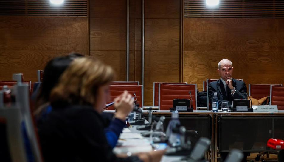 Manuel Chaves, durant la seua compareixença ahir al Senat.
