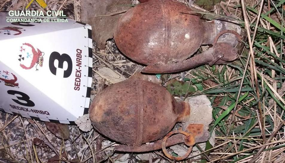 Imatge de les dos granades a Abella de la Conca.