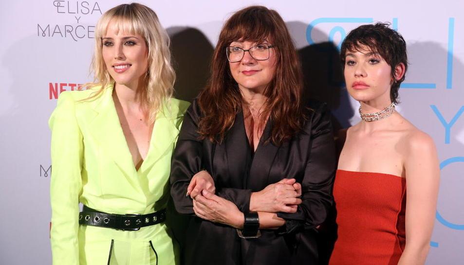 Isabel Coixet, el jueves en Barcelona con las dos protagonistas, Natalia de Molina y Greta Fernández.