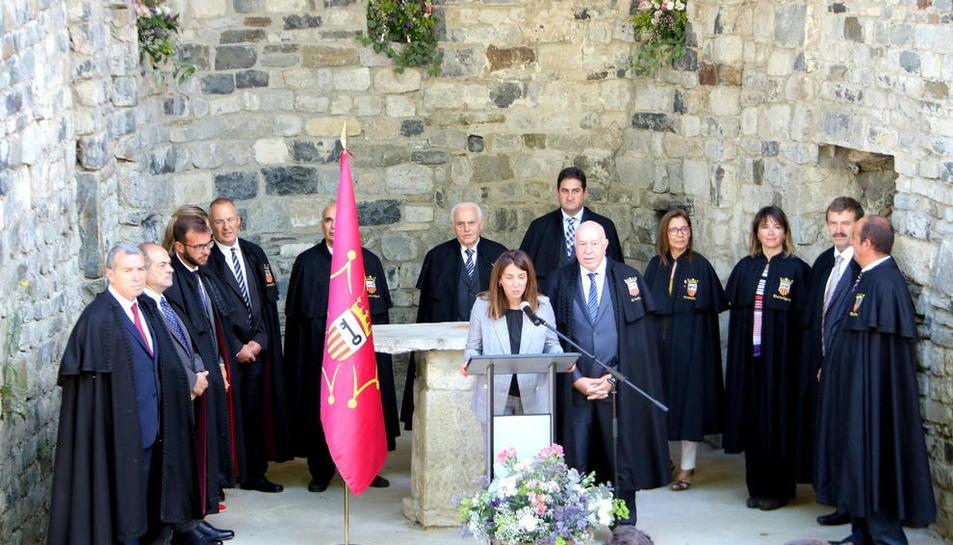 La intervenció de la consellera de Presidència durant la Hèsta d'Aran, celebrada ahir.