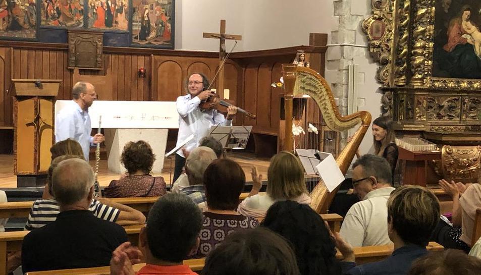 El trío Terzettino Ensemble, el viernes en Sant Miquèu de Vielha.