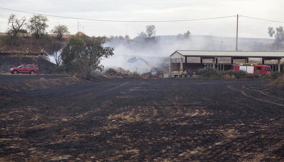 Los Bomberos trabajando en la extinción del incendio en las instalaciones de la granja.