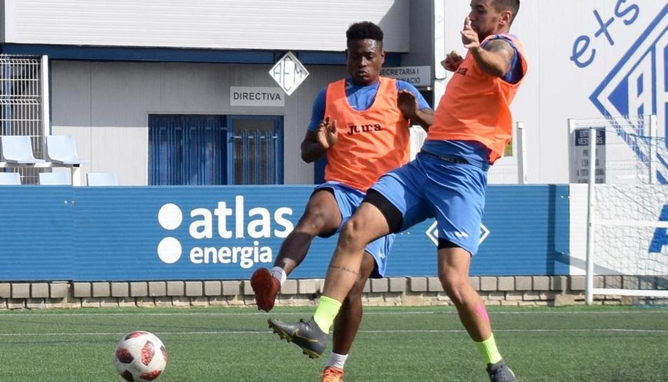 La plantilla del Lleida Esportiu se ejercitó ayer en las instalaciones del AEM.