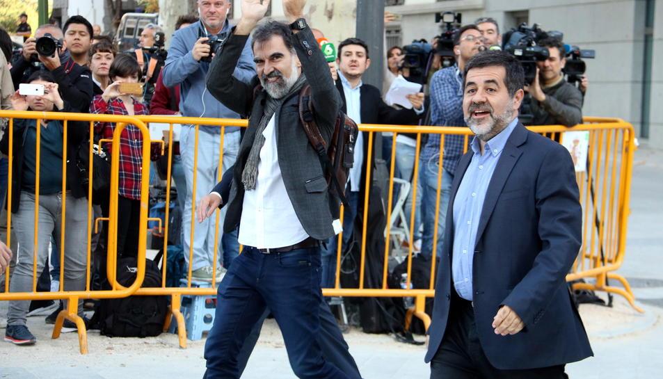 Jordi Sànchez y Jordi Cuixart el día que declararon en la Audiencia Nacional.