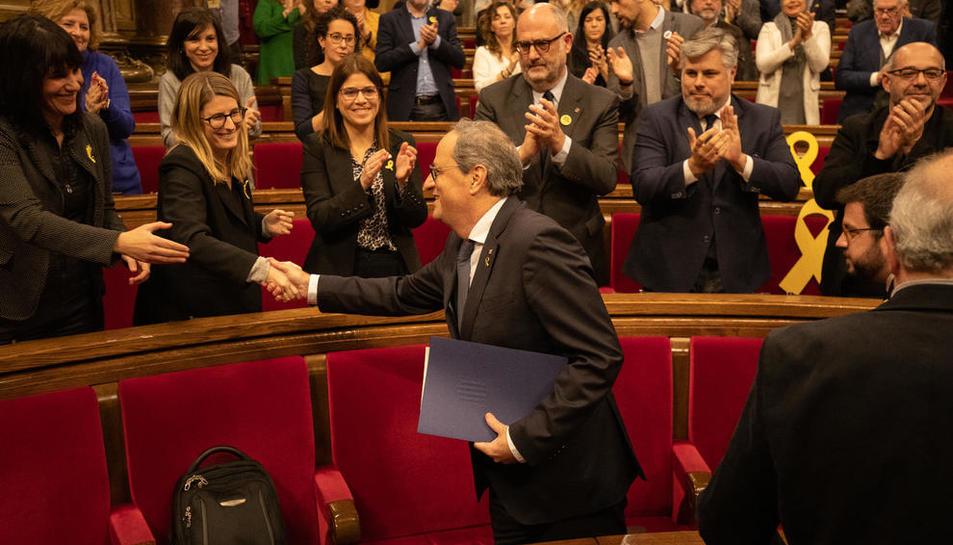 Torra, en el Parlament, durante el pleno que le avaló como president tras la resolución de la JEC.