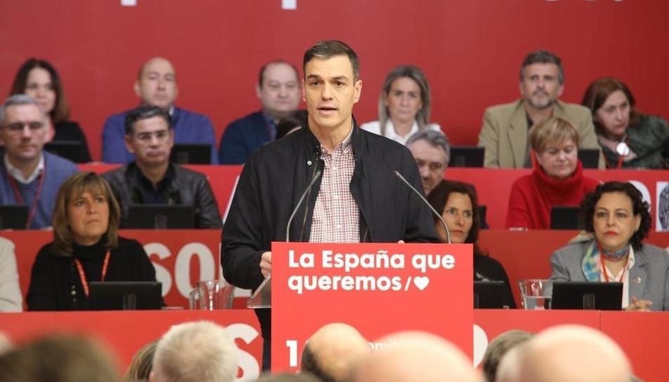 El president del Govern, Pedro Sánchez, durant la intervenció al comitè federal del PSOE.