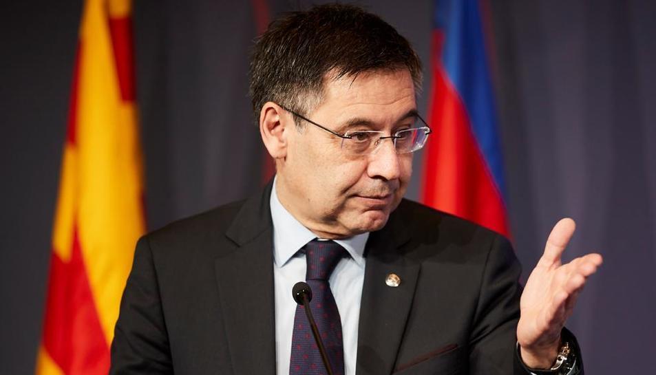 Josep Maria Bartomeu, durante el acto de entrega del Premio Vázquez Montalbán de periodismo.