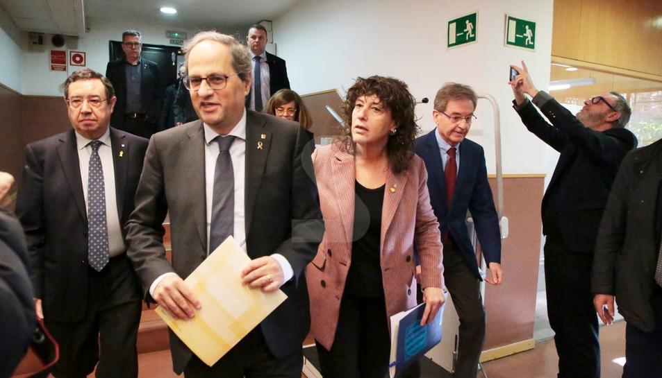 Teresa Jordà, a l'arribada a la reunió, amb el president Quim Torra