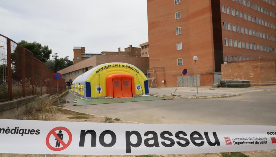 Imagen del hospital de campaña al Arnau de Vilanova de Lleida