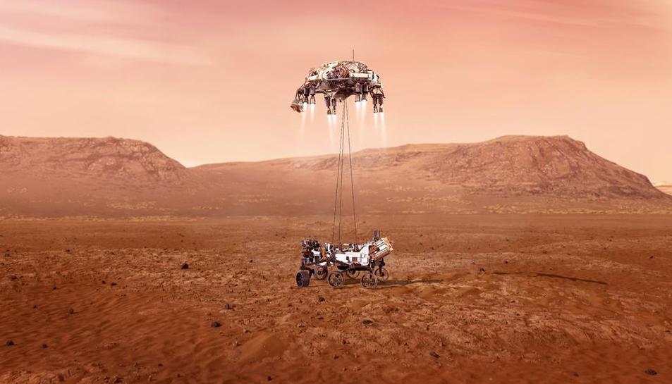 Primera imatge captada pel ròver des del planeta roig.