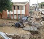 El pati del col·legi i l'escola bressol de Vinaixa, l'octubre del 2019 després del pas del temporal DANA.
