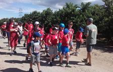 Aitona ensenya els seus fruiters als nens de l'Escolania del Pilar