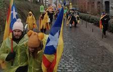 Lleidatans arribant al punt inicial de la concentració de Brussel·les