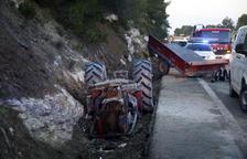 Herido un tractorista tras chocar con un camión en la N-240 en Vinaixa