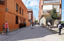 Obres al carrer Acadèmia de Mollerussa, que tindrà una part per a vianants