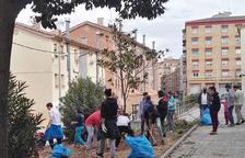 Los jóvenes, en plena limpieza de la zona verde