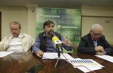 Ramon Augé, Joan Caball y Santi Querol, responsables de UP, ayer en rueda de prensa.