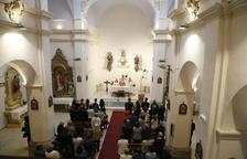 L'església de Rosselló, plena ahir a la tarda durant la missa oficiada pel bisbe de Lleida.