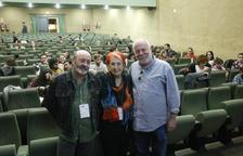 Els periodistes Xavier Giró, Rosa Maria Calaf i Ramón Lobo, ahir abans de participar en el simposi sobre la llibertat de premsa a la UdL.