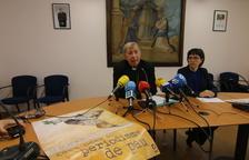 El bisbe, Salvador Giménez Valls, i la secretària, Marta Mas, ahir a la trobada amb els mitjans.