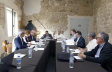 Reunió ahir del consell general del Turó de la Seu Vella de Lleida, presidit per l'alcalde, Àngel Ros.