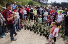 Marc Valls dóna unes breus indicacions abans d'iniciar la plantada popular.