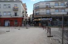 Las obras de reforma, que han llegado también a la plaza Pla d'Urgell de Mollerussa.