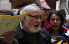 Josep Maria Miró, participant com a cantaire a la plaça Paeria.