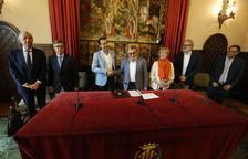 Ros, Parra i Larrosa, ahir a la Paeria amb els representants de Benito Arnó, Sorigué i Romero Polo.