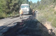 Las obras para reparar la carretera de Bovera a Palma d'Ebre.