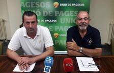 El responsable de cereales de UP, Santi Caudevila y el coordinador de UP en Lleida, Jaume Pedrós.