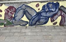 Imagen de la pintura mural creada este fin de semana por Jan Vallverdú y Nebil Riadh.