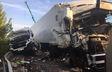 Dos dels vehicles implicats en l'accident a Ribera d'Ondara.