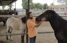 Carles Casanovas junto a algunos de los caballos del club Hípica L'Arca, que participan en clases de hípica y ejercicios terapéuticos.