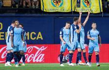 El Girona celebra un gol durant el partit que van disputar a Vila-real.
